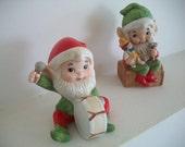 Christmas Elf Figurines in Santas Workshop From Homco