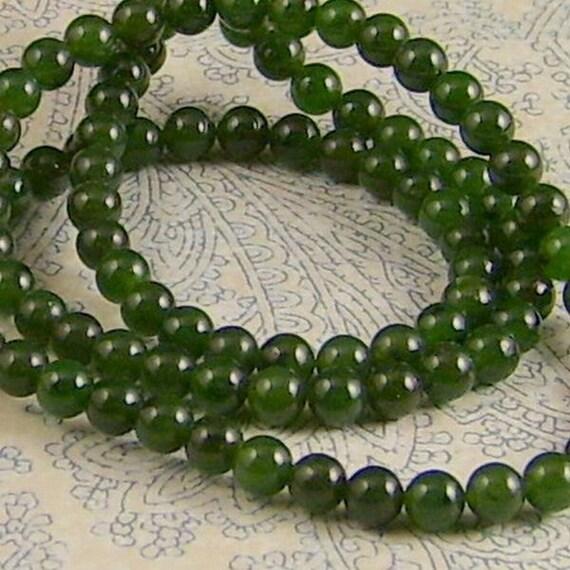 Green Nephrite Jade Bead Strand 4mm Round