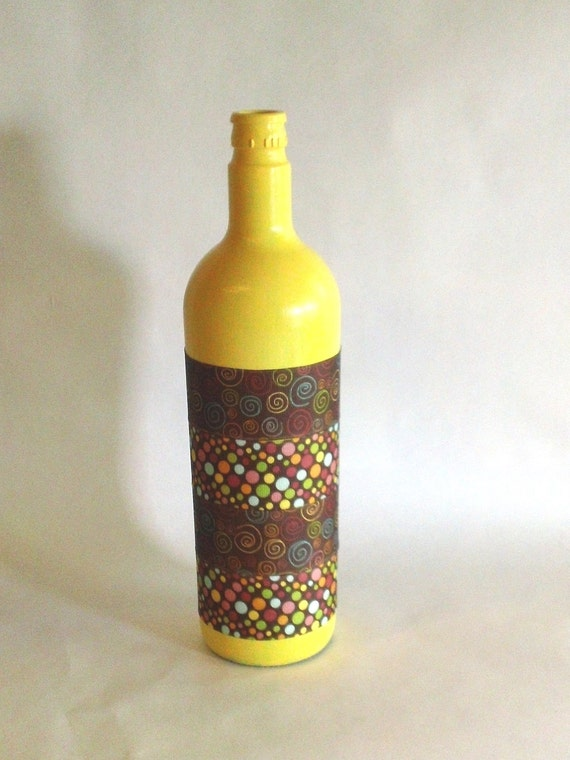 Large Yellow and Brown Bottle Vase