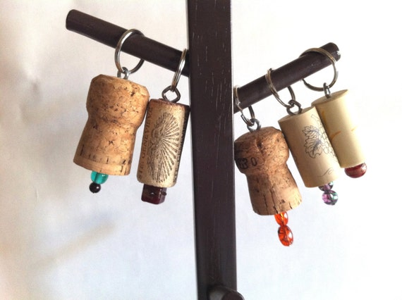 Single Bead Cork Key Chains