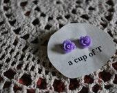 Perky Purple Rosette Earrings