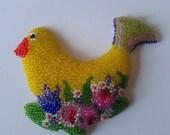 Beadwork Bird Brooch with Flowers