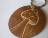 Mushroom Engraved Ooak Wood Keychain with Swaravski Crystals and Glass Bead