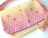 Peace Sign Kids Crossbody Hobo Bag with Messanger Style Flap in Pink Yellow and Orange