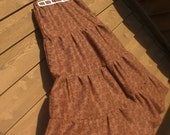 Long Tiered Skirt in Brown Circles and Dots