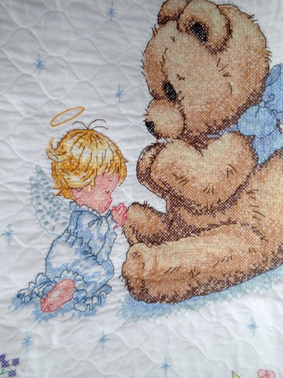 Angel And Teddy Bear Prayers Baby Quilt Toddler Blanket Hand