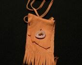 Deer skin medicine bag with anter button closure