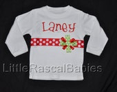 Embroidered Christmas shirt for baby or toddler girl