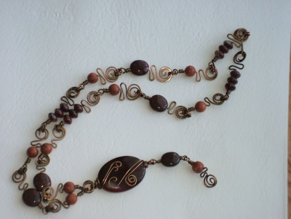Earth Necklace with Agate  and Jasper beads..