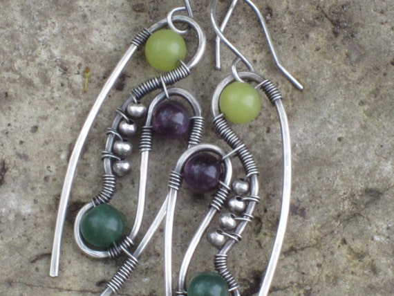 Colors of Spring Sterling Silver earrings with Amethyst, New Jade and Green Aventurine beads