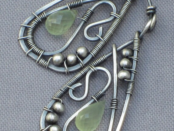 Prehnite Drops Wire Wrapped in Sterling Silver Wire/Morning Dew SALE20 OFF