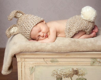 PDF CROCHET PATTERN Instant Download Newborn Bunny Diaper Cover And Hat Photo Prop Set Sell What You Make