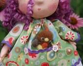Art Doll-AnnaBeth with Robyn Bird-Paper Clay and Cloth OOAK