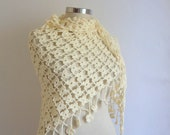 FREE SHIP  crochet  Ivory shawl scarf FASHION wedding,bride,bridial,capelet,collar,cowl,