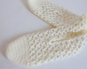 White  bead Crochet Slippers House Shoes Wool and cotton Yarn Custom Color Traditional Turkish Socks