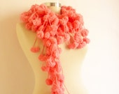 SUPER SALE Pink scarf  Pom Pom Cheerleader  Knit Scarf Curly Long , Neckwarmer, Cowl, Necktie - Cocoon, Mulberry, Pompom Yarn -  Gift for