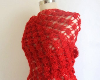 ON SALE RED crochet shawl ,Triangle ,warm ,scarf ,bolero, holiday ,day love, gift for her,cowl,collar,wrap,fashion,color