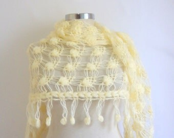 FREE SHIP    Ivory Shawl Cowl Turkish  romantic stole Wedding Cream  Triangle Stole  Chic Ivory Scarf Wrap Stole Poncho ACCESSORIES