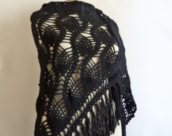 Handmade Crochet Triangle Black Shawl-Free Shipping