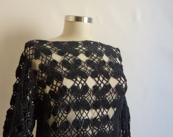 Handmade Crochet Light Gray Blouse-Free Shipping
