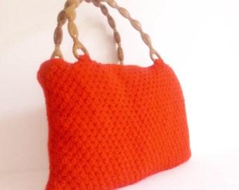 BAG RED color Crocheted Handbag afghan crochet RED bag spring fashion bag gift idea handknit fashion summer spring