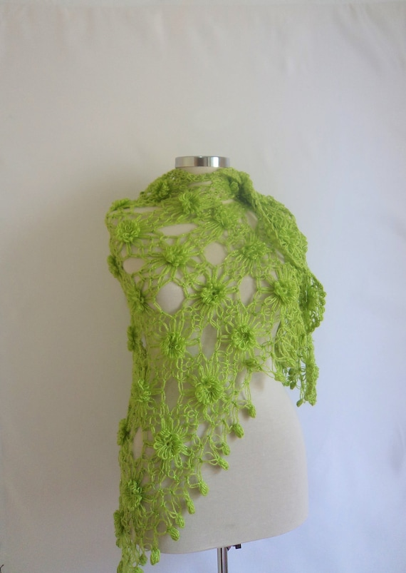 st patricks day,Shawl Green,discount, FREE ship --Lime green Flower,  gift ,for floral, Spring, colors sexy elegant bolero stole silk shrug