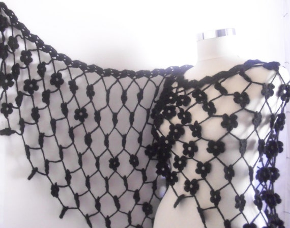 Reserved for (Irina Feshchenko) FREE ship Black Shawl  HandCrocheted scarves ,scarf,capelet spring,handmade