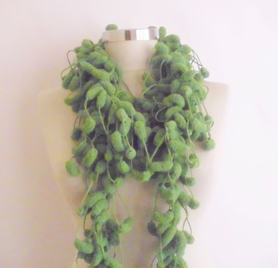 free ship GREEN Pom Pom Cheerleader Knit Scarf Green Long Scarf, mother Neckwarmer, Cowl, Necktie - Cocoon,, Pompom Yarn - Gift for collar