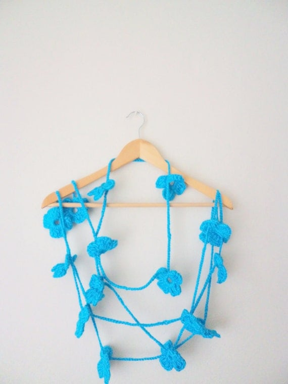 Spring Celebrations Blue Scarf Hand crochet Lariat Variegated Long summer  Necklace  Flower Lariat Accessories summer spring mother day gift