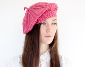 Knitted Beret with Stripe Design in Raspberry Pink. Hand Knit Wooly Winter Slouchy Ladies Womens Cap