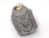 Grey Aran Hand Knit Mug Warmer or Cup Cosy in Stone Gray Shade. Mens Gift.