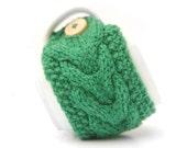 Green Aran Hand Knit Mug Warmer or Cup Cosy Cozy. Bright Sherbet Spring Grass