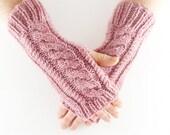 Dusky Blush Rose Pink Fleck Aran Arm Warmer Gloves with Cable Design