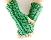 Green Aran Arm Warmer Gloves with Cable Design Bright Sherbet Spring Grass