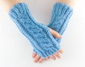 Sky Blue Aran Arm Warmer Gloves with Cable Design Girly Feminine Sherbet Baby Sea Blue Frost Shade