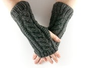Charcoal Grey Aran Arm Warmer Gloves with Cable Design in Dark Gray Shade. Mens Gift.