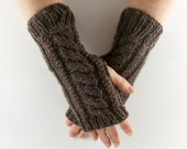Brown Earthy Fleck Aran Arm Warmer Gloves with Cable Design Natural Forest Wood Shade. Mens Gents Valentines Gift