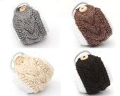 Set of 4 Aran Hand Knit Mug Warmer or Cup Cosy Cozy. Brown Black Cream Fleck Gray Grey Group