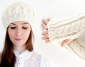 Knitted Beret & Armwarmer Set Cable Design in Cream White Aran. Hand Knit Wooly Winter Glove Cap