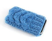 Knitted iPhone Cover. Handknit Phone Cozy with Cable in Sapphire Blue Shade. Knitted iTouch Mp3 iPod Case Cosy