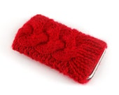 Knitted iPhone Cover. Handknit Phone Cozy with Cable in Bright Red Shade. Knitted iTouch Mp3 iPod Case Cosy