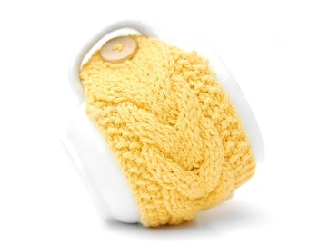 Mustard Yellow Aran Hand Knit Mug Warmer or Cup Cosy Cozy. Lemon Sunshine Shade