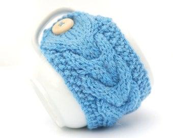 Sky Blue Hand Knit Mug Warmer or Cup Cosy Cozy. Girly Feminine Sherbet Baby Sea Blue Frost Shade