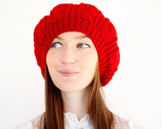 Knitted Beret with Rib Design in Red. Hand Knit Wooly Winter Slouchy Ladies Womens Cap