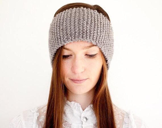 Knitted Headband in Grey. Hand Knit Wooly Winter hairband Ladies Womens Ear Warmer
