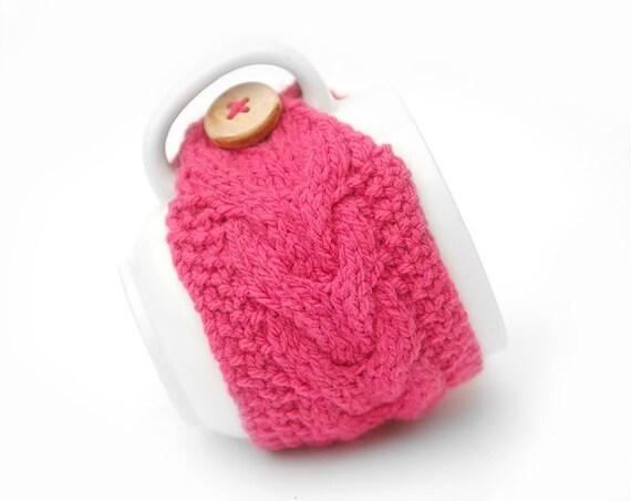 Valentine Pink Aran Hand Knit Mug Warmer or Cup Cosy Cozy. Bubblegum Girly Feminine Sherbet Valentine Gift