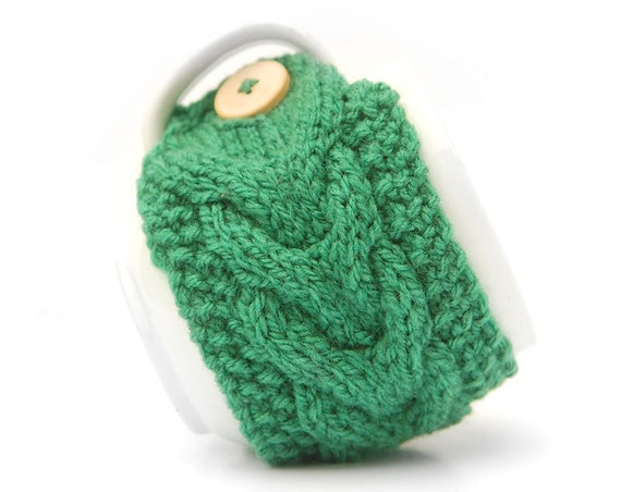 Green Aran Hand Knit Mug Warmer or Cup Cosy Cozy. Bright Sherbet Spring Grass