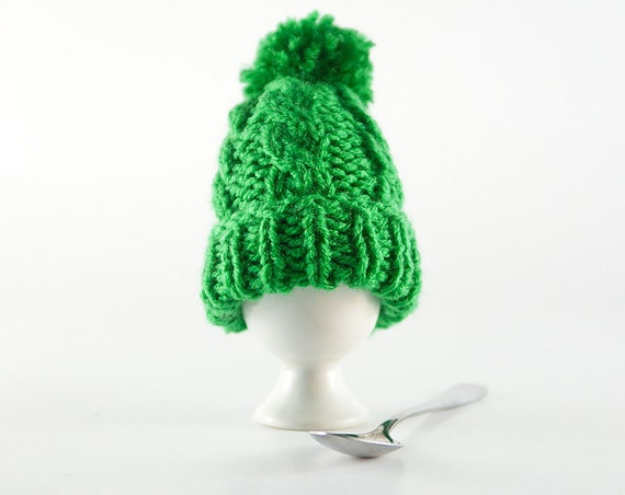 Green Aran Hand Knit Egg Warmer Cosy Cozy. Bright Sherbet Spring Grass Knitted Wool. St. Patricks Day