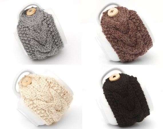 Set of 4 Aran Hand Knit Mug Warmer or Cup Cosy Cozy. Brown Black Cream Fleck Gray Grey Group