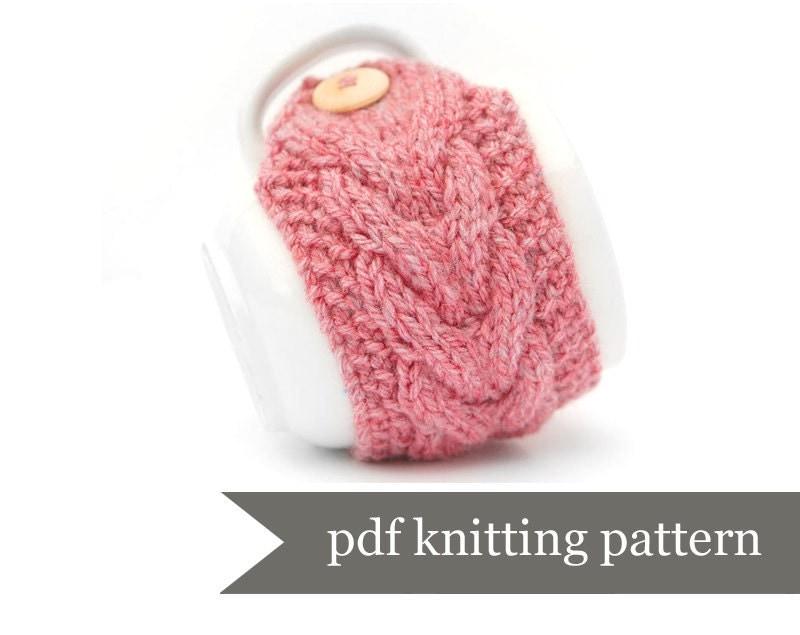 Knitted Mug Warmers Pattern : Mug Warmer Knitting Pattern. Cup Cozy Pdf by LittleButtonsAndBows